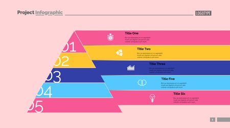 Marketing pyramid slide template. Business data. Graph, diagram, design. Creative concept for infographic, report. Can be used for topics like hierarchy, consequence, number options Illusztráció
