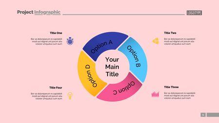 Grafico a torta con quattro elementi. Diagramma, grafico delle opzioni, layout. Dati aziendali. Concept creativo per infografica, presentazione, progetto. Può essere utilizzato per argomenti come marketing, analisi, flusso di lavoro.