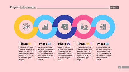 Sequence of five phases template. Business data. Graph, chart, design. Creative concept for infographic, report. Can be used for topics like marketing, economics, development Illusztráció