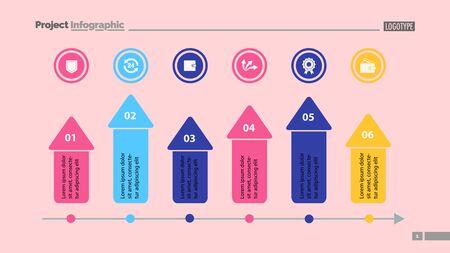 Six arrows process chart slide template. Business data. Option, diagram, design. Creative concept for infographic, presentation. Can be used for topics like marketing, finance, teamwork. Illusztráció