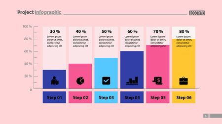 Six columns bar chart slide template. Business data. Step, diagram, design. Creative concept for infographic, presentation. Can be used for topics like management, analytics, research.