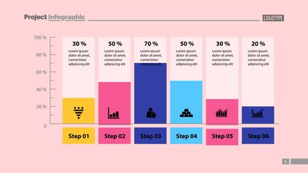 Six columns bar chart slide template. Business data. Percent, diagram, design. Creative concept for infographic, presentation. Can be used for topics like management, analysis, research.