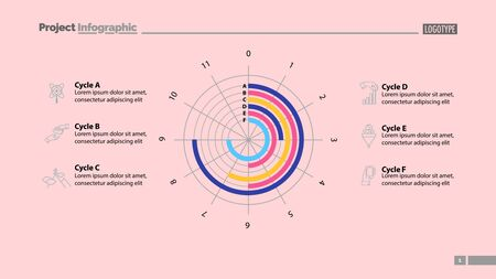 Six cycles in circle diagram template. Business data. Graph, chart, design. Creative concept for infographic, report. Can be used for topics like science, economics, investment