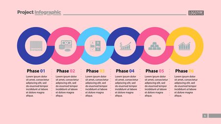 Six phases timeline slide template. Business data. Graph, chart, design. Creative concept for infographic, report. Can be used for topics like money, finances, economics Illusztráció