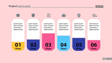 Six elements process chart slide template. Business data. Model, comparison, design. Creative concept for infographic, presentation, report. Can be used for topics like marketing, economics, analytics.