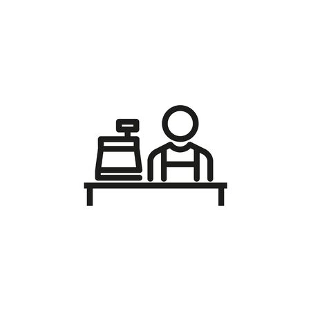 Cashier line icon. Man, worker, counter, cash register. Cashier concept. Vector illustration can be used for topics like payment, store, checkout
