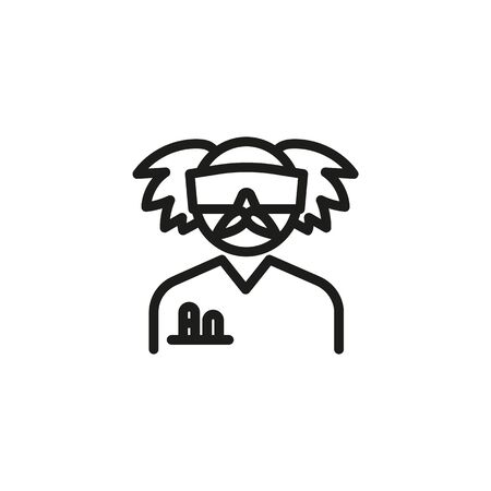 Crazy chemist line icon. Senior man in goggles with test tubes in pocket. Scientists concept. Vector illustration can be used for topics like chemistry, lab, research Illusztráció