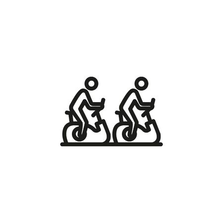 Exercising people line icon. Bicycle, device, sport. Gym concept. Vector illustration can be used for topics like sport, healthy lifestyle, fitness Ilustração