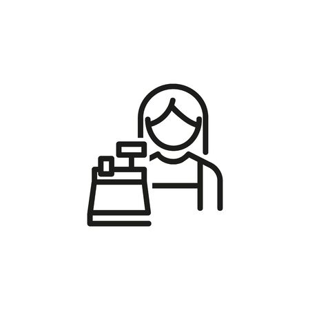 Female cashier line icon. Woman, worker, cash register, cashbox. Cashier concept. Vector illustration can be used for topics like payment, store, checkout Ilustração