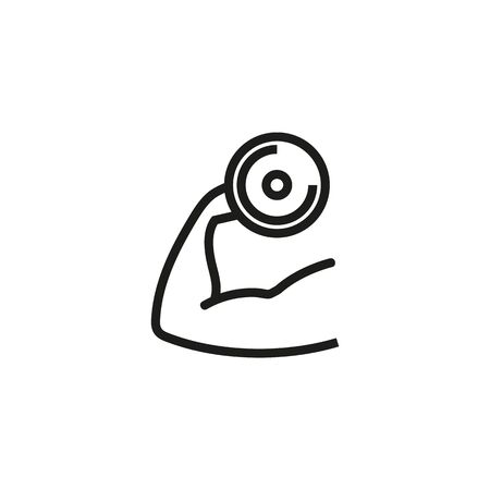 Fitness arm line icon. Dumbbell, arm, muscle. Gym concept. Vector illustration can be used for topics like sport, healthy lifestyle, fitness Ilustração