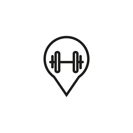 Gym location line icon. Navigation, map, dumbbell. Gym concept. Vector illustration can be used for topics like sport, healthy lifestyle, fitness Ilustração