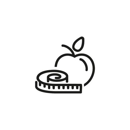 Healthy lifestyle line icon. Apple, measuring tape, nutrition. Gym concept. Vector illustration can be used for topics like sport, healthy lifestyle, fitness
