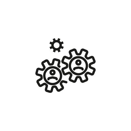 Office management line icon. Gearwheel, employer, hierarchy. Business concept. Vector illustration can be used for topics like business, management, work