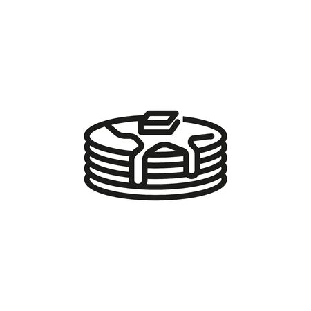 Pancakes with butter and syrup line icon. Pastry, breakfast, Pancake week. Desserts concept. Vector illustration can be used for topics like bakery, restaurant, catering