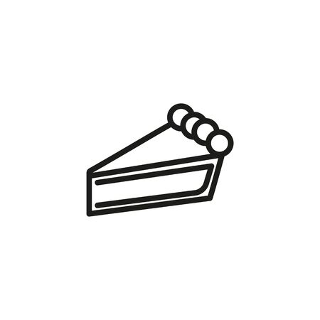 Pie slice line icon. Pastry, confectionary, sweet course. Desserts concept. Vector illustration can be used for topics like bakery, restaurant, catering