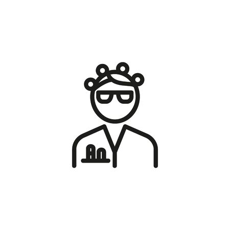 Scientist PhD line icon. Chemist woman in eyeglasses and white coat with test tubes in pocket. Scientists concept. Vector illustration can be used for topics like chemistry, lab, research
