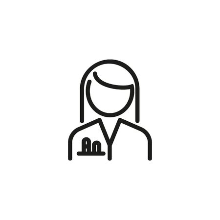 Scientist woman line icon. Female chemist in white coat with test tubes in pocket. Scientists concept. Vector illustration can be used for topics like chemistry, lab, research