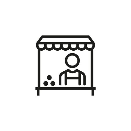 Seller line icon. Man, worker, kiosk, cart. Cashier concept. Vector illustration can be used for topics like market, street food, ice cream Ilustração