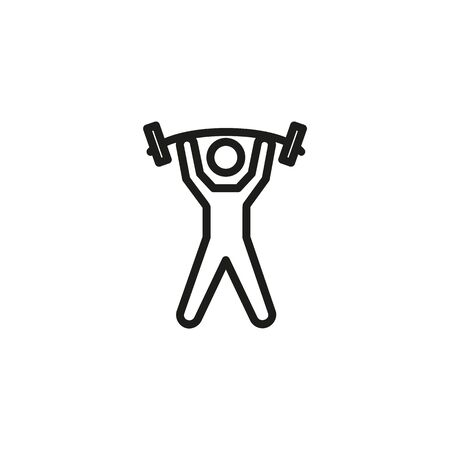 Weight lifter line icon. Sportsman, barbell, weight lifting. Gym concept. Vector illustration can be used for topics like sport, healthy lifestyle, fitness