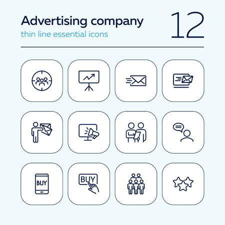 Advertising company line icon set. Target audience, buy button, customer survey. Commerce concept. Can be used for topics like ecommerce, marketing, internet store