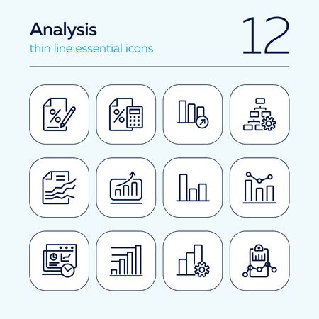 Analysis line icon set. Bar chart, bank interest, loan agreement. Data concept. Can be used for topics like finance, reporting, marketing