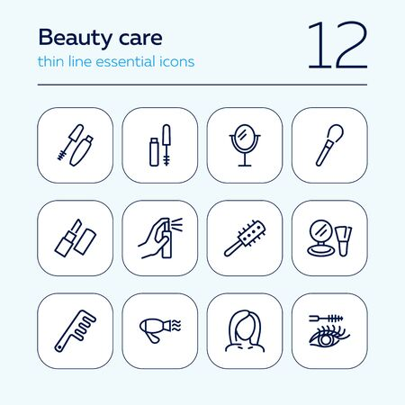 Beauty care line icon set. Mascara, brush, lipstick. Beauty concept. Can be used for topics like beauty salon, hair style, makeup