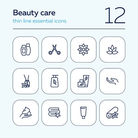 Beauty care line icon set. Shampoo, scissors, towel, flower. Beauty concept. Can be used for topics like cosmetics, spa salon, skin care Иллюстрация