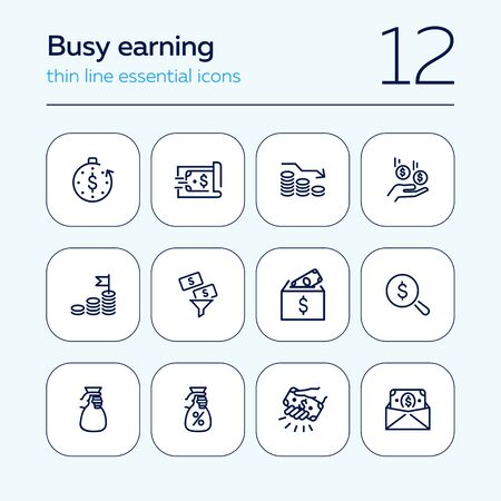 Busy earning line icon set. Money, cash, business. Sales concept. Can be used for topics like finance, investment, banking Illusztráció