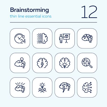 Brainstorming line icon set. Shining bulb, idea, charging. Brain work concept. Can be used for topics like intelligence, genius, IT startup Illustration