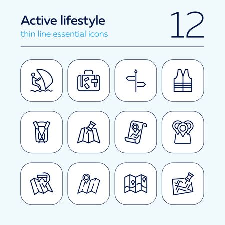 Active lifestyle line icon set. Set of line icons on white background. Boat, surfing, map. Tourism concept. Vector illustration can be used for topics like travelling, activity