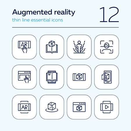 Augmented reality line icon set. Smartphone, games, book reader. Modern technology concept. Can be used for topics like 3d modeling, simulators, development Stock Illustratie