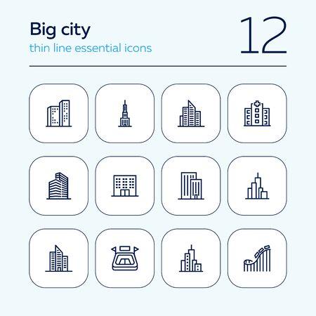 Big city line icon set. Building, skyscraper, stadium, amusement park. Urban life concept. Can be used for topics like downtown, architecture, town