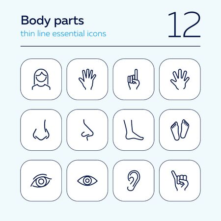 Body parts line icon set. Hand, nose, foot. Body care concept. Can be used for topics like gesturing, healthcare, anatomy 일러스트
