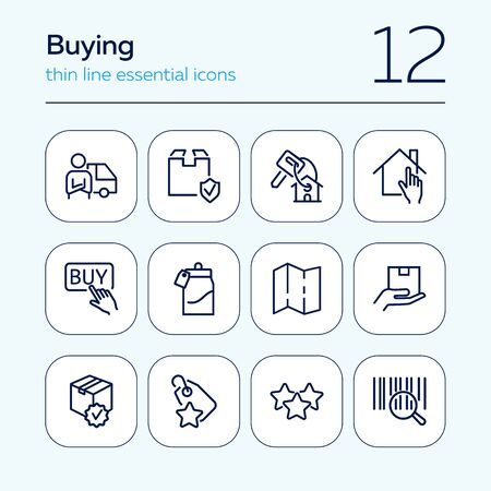 Buying line icon set. Key, house, parcel. Commerce concept. Can be used for topics like mortgage, shopping, internet store