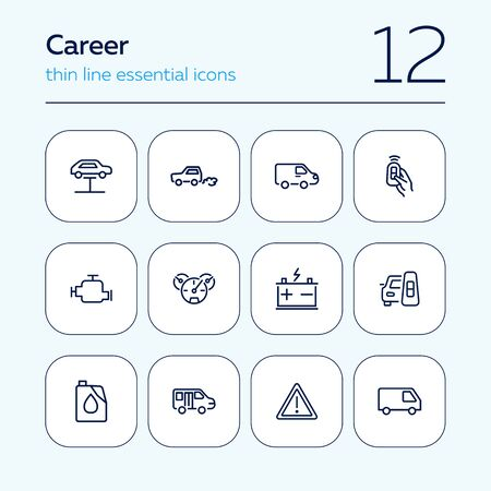Car service line icon set. Lift, battery, van, key. Car concept. Can be used for topics like garage, vehicle repair, technical support
