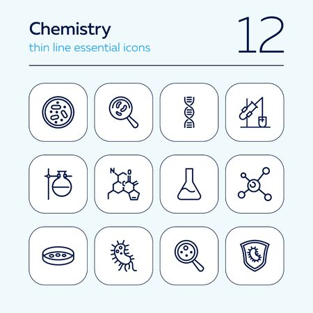 Chemistry line icon set. Set of line icons on white background. Science concept. Bacteria, formula, equipment. Vector illustration can be used for topics like laboratory, investigation, experiment  イラスト・ベクター素材