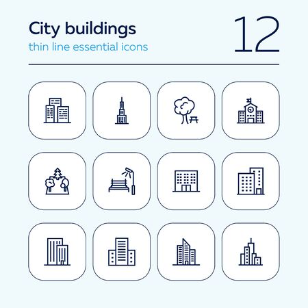 City buildings icon set. Line icons collection on white background. Skyscraper, architecture, street. Construction concept. Can be used for topics like tourism, business center, financial district