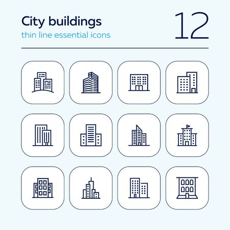City buildings line icon set. Office building, apartment house, business area. Urban life concept. Can be used for topics like town, big city, architecture