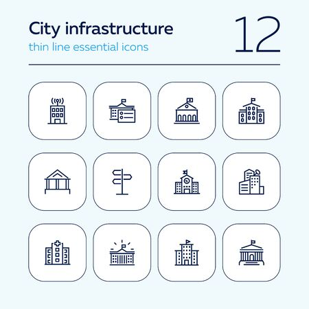 City infrastructure line icon set. School, government, courthouse, hospital, road sign. Urban life concept. Can be used for topics like town, big city, architecture Banque d'images - 129954690