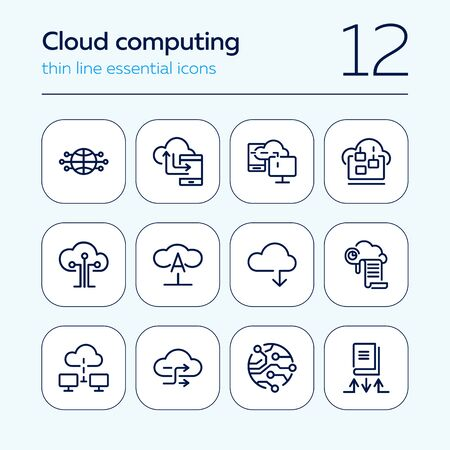 Cloud computing line icon set. Set of line icons on white background. Programming concept. System, service, device. Vector illustration can be used for topics like technology, internet, computer Banque d'images - 129783227