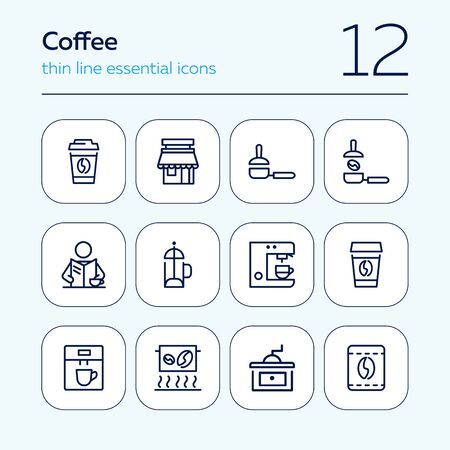 Coffee line icon set. Takeaway cup, grinder, bean. Coffee break concept. Can be used for topics like coffee shop, cafe, morning