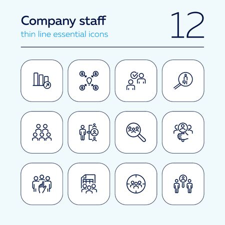 Company staff line icon set. People, team, search. Business concept. Can be used for topics like human resource, personnel, selection Иллюстрация