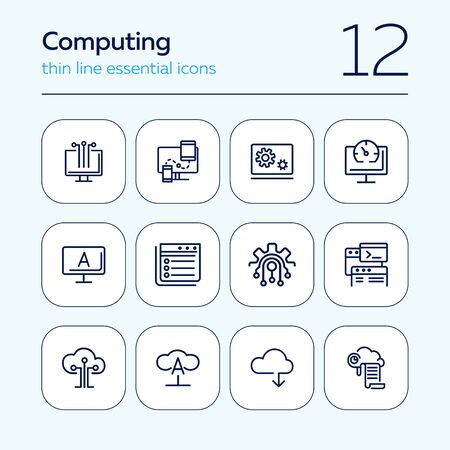 Computing line icon set. Cloud print, monitor, coding. Information technology concept. Can be used for topics like programming, data storage, computer engineering