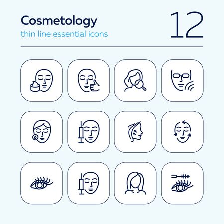 Cosmetology line icon set. Injection, solarium, mascara. Beauty concept. Can be used for topics like dermatology, skin care, aesthetics 일러스트