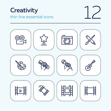 Creativity line icon set. Camera, guitar, movie. Leisure concept. Can be used for topics like entertainment, vocation, hobby 일러스트