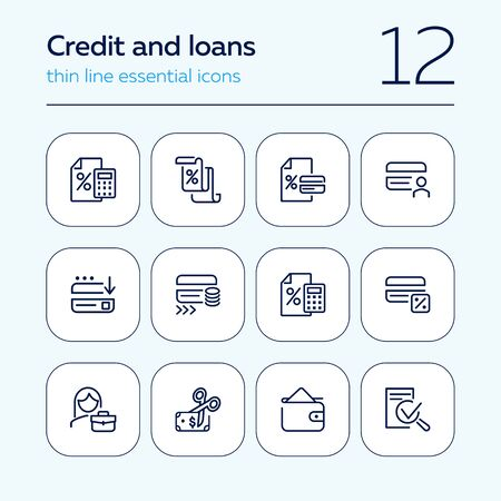 Credit and loans line icon set. Plastic card, interest rate, money. Finance concept. Can be used for topics like banking, accounting, finance management