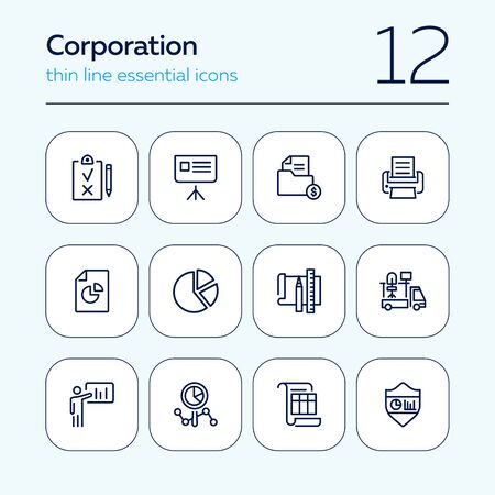Corporation line icon set. Graph, presentation, report, diagram. Business concept. Can be used for topics like analysis, finance, insurance, startup Çizim