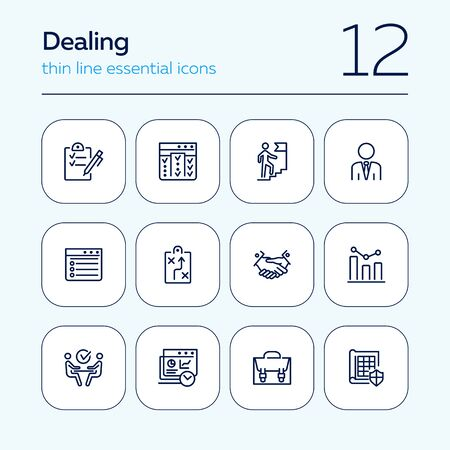 Dealing line icon set. Businessman, career, meeting, handshake. Business concept. Can be used for topics like planning, strategy, agreement