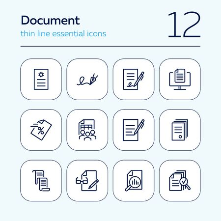 Document line icon set. Statistics, examination, report. Expertise concept. Can be used for topics like signing contract, paperwork, business analysis Illusztráció