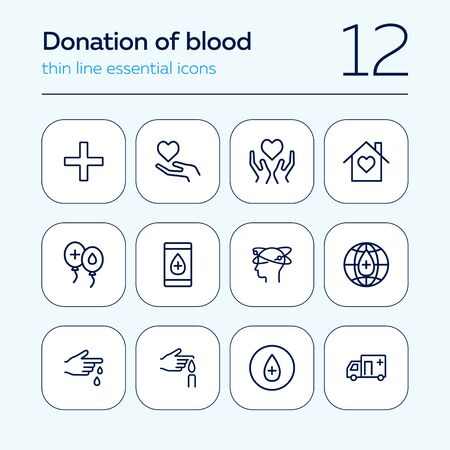 Donation of blood line icon set. Heart on hand, blood test, donor. Volunteering concept. Can be used for topics like transfusion, help, charity